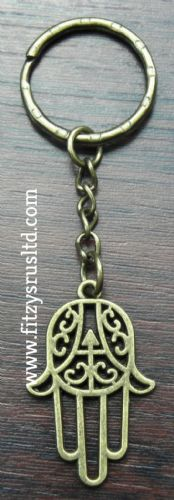 Hamsa Gold-Colour Keyring Khamsa Hand of Fatima Amulet Key Ring Khomsah Gift